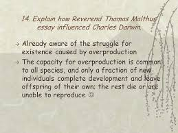 "chapter reading quiz who wrote ""on the origin of species  explain how reverend thomas malthus essay influenced charles darwin"