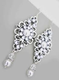 crystal pearl earrings wedding chandelier earrings bridal jewelry art deco swarovski ivory white pearl sterling silver bridesmaid jewelry 35 00 usd