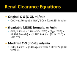 renal clearance equations
