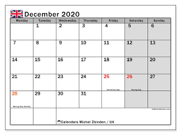 December 2020 Calendar Uk Michel Zbinden En