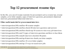 Top 12 procurement resume tips In this file, you can ref resume materials  for procurement ...