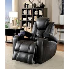 Furniture Of America Contemporary Power Reclining Sofa Loveseat Recliner  Storage Armrest Cup Holders Leatherette Dark Gray USB Reading Light Couch Recliner With Cup Holder And Storage C74