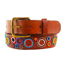 aspiga multicolored beaded leather belt circles