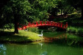 Lawn & Garden:Small Stone Bridge In Japanese Garden Idea Red Japanese Bridge  With Simple