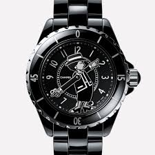 j12 black chanel mademoiselle j12 watch black laquer dial silhouette of mademoiselle chanel s arms indicate hours and minutes