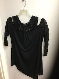 Kate And Mallory Size Chart Kate Mallory Knit Lace 3 4 Sleeve Cold Shoulder Hi Lo