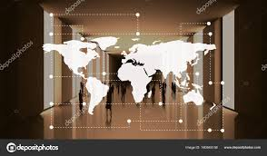 World Map Against Office Stock Photo Vectorfusionart