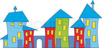 Cartoon Town House Colorful Houses Stock Vector