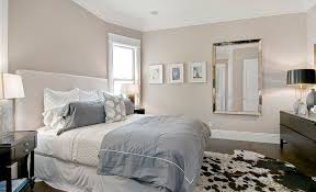 calming bedroom paint colors for small room with black furniture and square wall mirrors also plus big cowhide rug