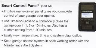 8550 liftmaster garage door opener smart control panel