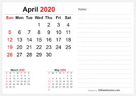 2020 April Desk Calendar Design