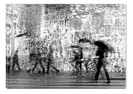 black and white abstract canvas wall art life in the city nature urban landscape