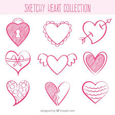 sketches of decorative hearts free vector