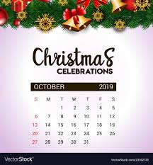 2019 October Calendar 2019 October Calendar Design Template Of Vector Image