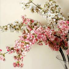 5pcs lot peach flower silk long stem artificial wedding party event fake cherry pink free shipping