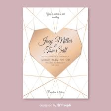 Geometric <b>heart wedding invitation</b> template Vector | Free Download