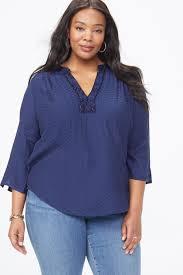 beaded split neck blouse in plus size peacoat large