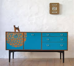 painted mid century furniturebeautiful midcentury sideboard in blue color with flower painting