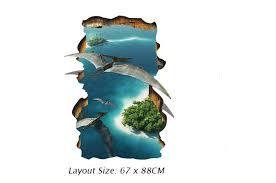 3D Stereo Blue Sea Flying Dinosaur <b>Wall</b> Stickers Living Room ...