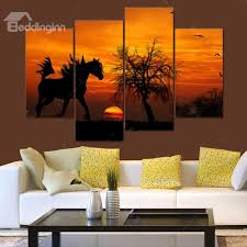 fancy sunset scenery horse pattern 4 panels none framed decorative contemporary wall decor on decorative contemporary wall art with fancy sunset scenery horse pattern 4 panels none framed decorative