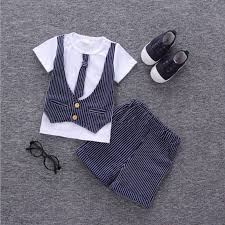 2019 Hot <b>Boys summer clothes</b> sets <b>children</b> bowtie necktie T shirt + ...