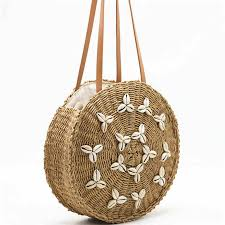 New <b>Beach Woven Handbags Summer</b> Women Fashion Round Ball ...