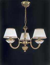 3 lights brass and frosted cut glass chandelier with lamp shades