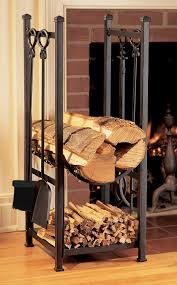 black metal indoor firewood rack with hooks for living room with laminate wooden floor tiles ideas