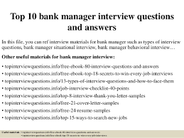 Bank Manager Interview Questions Top 10 Bank Manager Interview Questions And Answers