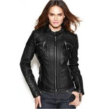 michael michael kors luxe leather moto jacket for