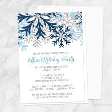 Corporate Holiday Party Invite Snowflake Holiday Party Invitations Blue Silver Winter