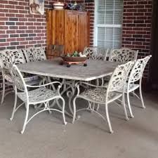 wonderful stone table top patio furniture best large 64 x ha 8 chair excellent condition 250