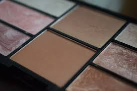 in this palette you get a mixture of highlighter blusher and bronzer i m uming the lighter shades are highlighters and the darker shades are blushes
