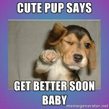 Cute Pup says get better soon baby - Get well soon pup | Meme ... via Relatably.com