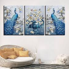 framed 3 piece blue peacock flowers canvas it make your day on 3 piece framed wall art for sale with framed 3 piece blue peacock flowers canvas wall art paintings for