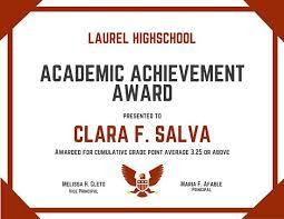 Principal Award Certificate Academic Achievement Award Certificate Principals List