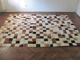 patchwork cowhide rug large