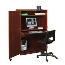 a computer desk hutch is displayed with a computer and desk chair