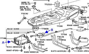 need a new vapor canister page 2 toyota rav4 forums correct the filter is under the driver s seat outboard of the frame rail in this diagram the charcoal canister is a and the filter is b