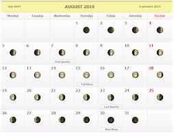 Moon Chart Calendar 2019 August 2019 Moon Phases Calendar August 2019 Lunar Calendar