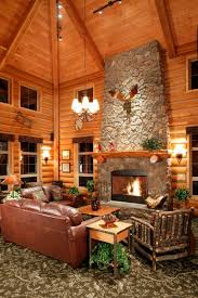 appealing decorating ideas for log cabin using natural stone