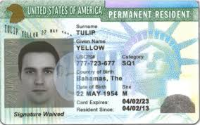 permanent resident card with notation