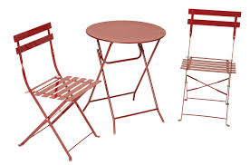 cosco s cosco outdoor living all steel 3 piece folding bistro patio table and chairs red
