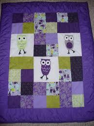 purple owl nursery - Etsy.com I should be able to make this ... & Liz Green Custom Order - Purple and Lime Green Owl Nursery Quilt Adamdwight.com