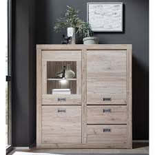 Landhaus Highboard Balboa 61 In Ancona Oak Nb Eiche Hell Inkl Led Bht 12613840cm