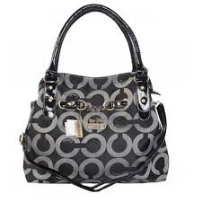 Coach Chain Logo In Monogram Medium Black Satchels BOM Outlet Online
