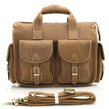 men s brown leather briefcase laptop hand bag