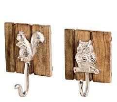 Wandhaken Eule - Eichhörnchen aus Holz und Metall Haken im ...