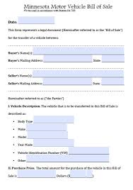 vehicle bill of sale as is free minnesota motor vehicle bill of sale form pdf word doc