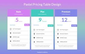 web table design. Wonderful Web Pastel Pricing Table Design Widget Template And Web N